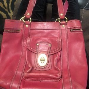 Beautiful Red Leather Coach Purse (Classic)
